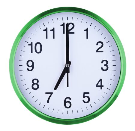 Photo pour Wall clock isolated on white background. Seven oclock. - image libre de droit