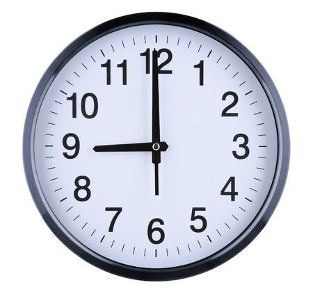 Foto de Wall clock isolated on white background. Nine oclock. - Imagen libre de derechos