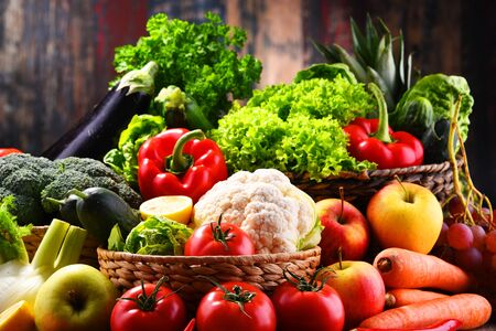 Photo for Composition with assorted organic vegetables and fruits - Royalty Free Image