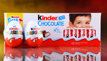 POZNAN, POL - APR 7, 2020: Products of Kinder Chocolate, a confectionery product brand line produced by Italian confectionery company Ferrero