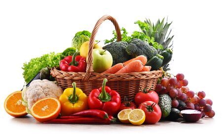 Photo for Composition with assorted organic vegetables and fruits. - Royalty Free Image