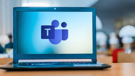 Photo pour POZNAN, POL - APR 24, 2020: Laptop computer displaying logo of Microsoft Teams, a unified communication and collaboration platform - image libre de droit