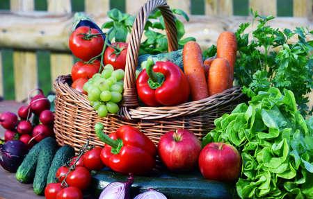 Foto für Variety of fresh organic vegetables in wicker basket. - Lizenzfreies Bild