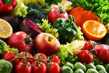 Photo for Composition with variety of fresh organic vegetables and fruits - Royalty Free Image