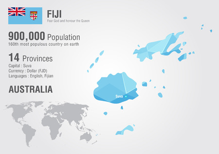 Fiji world map with a pixel diamond texture. World geography ...