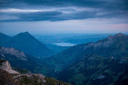 view of Lake Thun and Thun at sunrise