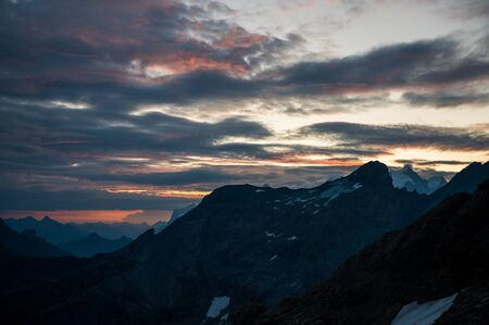 sunrise mood at BlÌmlisalphÌtte SAC in the Bernese Alps