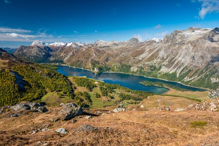 view of Lake Sils from Furtschellas in Engadin in Autumn
