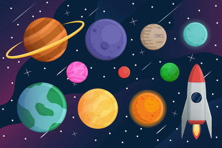 Set planet  with spaceship or rocket and galaxy vector background