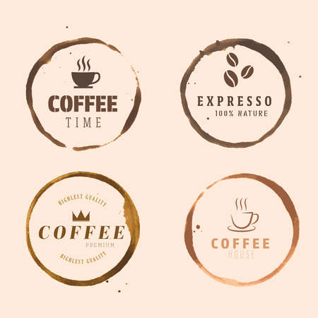 Illustration pour Vector ring cup stain,coffee logo,Grunge logo coffee. - image libre de droit