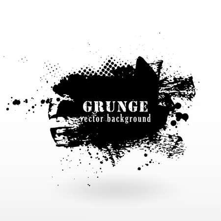 Illustration for Vector grunge banner background. Grunge texture halftone and black ink splatter. - Royalty Free Image