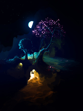 Moon in night above Night Scenic Landscape with illuminated burrow and mountains. Dark Fantasy Illustration