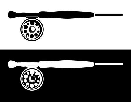 Ilustración de Fisherman's Road for Fly Fishing, Vector Illustration isolated on white and black background. - Imagen libre de derechos