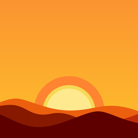 Cartoon Desert Landscape at Sunset - Vector background illustration in orange colors of evening sun and horizon.