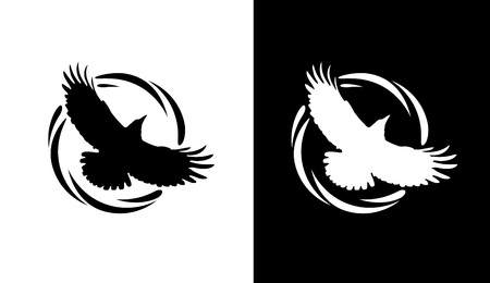 Illustration pour Logos in Black and White colors with Silhouette of Rook. Flying of Raven in Round Decorative Ring. Vector Emblems isolated on White background. - image libre de droit