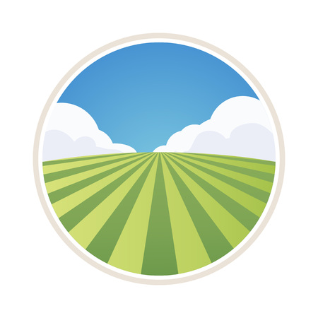Illustration pour Round Farm Label with Field of Barley isolated on white, Vector Illustration - image libre de droit
