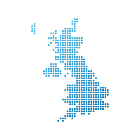 Ilustración de Map of United Kingdom, Vector Icon in blue color - Imagen libre de derechos