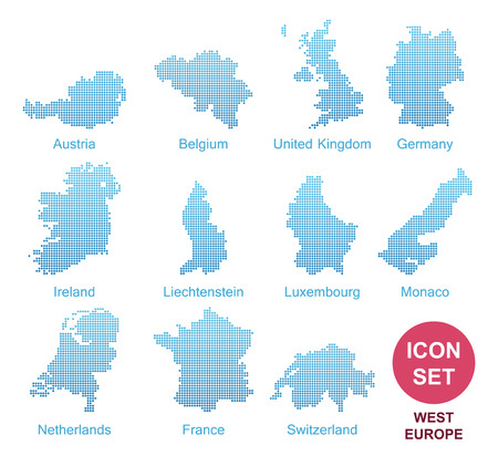 Counties of West Europe, Vector Icon Set in modern style