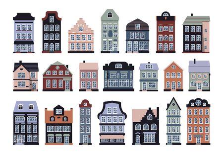 Photo pour Cartoon houses colorful Amsterdam icon vector set - image libre de droit
