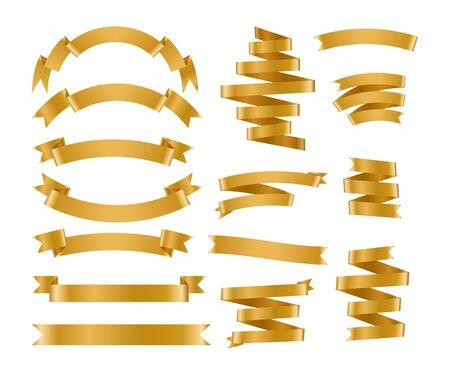 Illustration pour Shiny foil gold ribbon set. Metallic background banner. Congratulation gradient retro flag, tape for text, price tag, sale label. Blank template different shape. Isolated on white vector illustration - image libre de droit