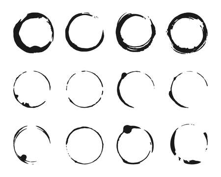 Illustration for Set of brush strokes circles of paint. Grunge texture coffee ring stains. Template glyph for round frames, icons, design elements. Black abstract logo, label, circle. Isolated vector illustration - Royalty Free Image