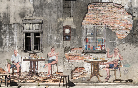 SONGKLA ,THAILAND- November 14, 2015: Public street art Chinese people coffee breakfast 3D on the wall that's talk and discuss in Songkla ,Thailand.