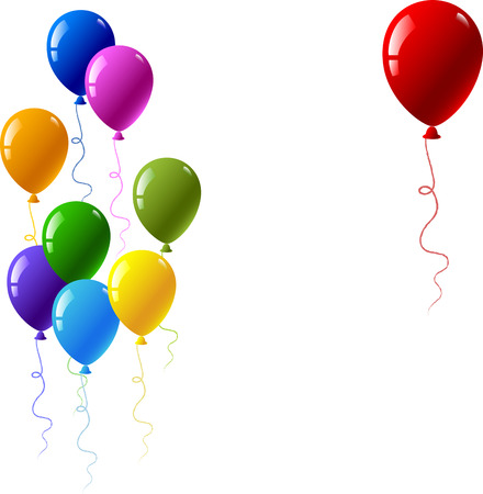 Vector illustration with colourful party balloons isolated on white