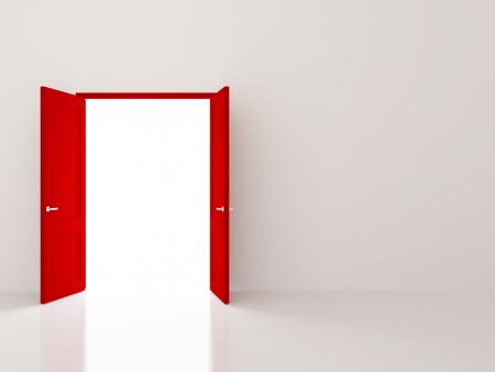 Two red doors opening to the light
