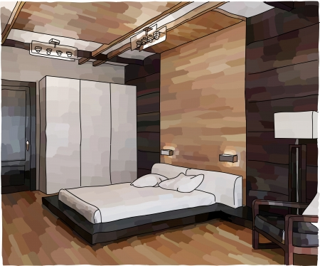 Vector illustration of modern bedroom interior, doodle style
