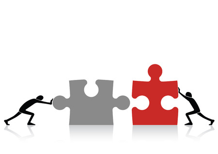 Concept of teamwork - connecting together grey and red pieces of puzzle