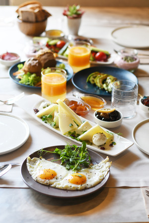 Photo for Turkish breakfast with various plates on a table - Royalty Free Image