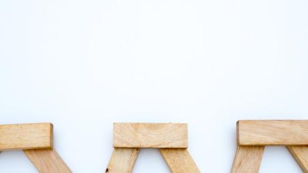Photo pour wooden block concept Cross the bridge on white background - image libre de droit