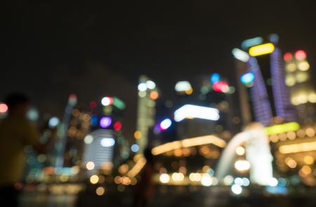 Photo pour Merlion fountain and marina bay blur background Singapore - image libre de droit
