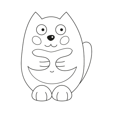 Cute cartoon kitty, vector illustration of funny fatty cat, coloring book page for children
