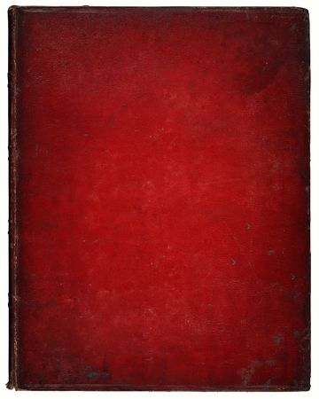 Image of an old leather book cover. Leather, with marks and scratches etc. Clipping included.