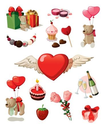 Ilustración de Set of elements for st  Valentine s day  Isolated on white background  - Imagen libre de derechos