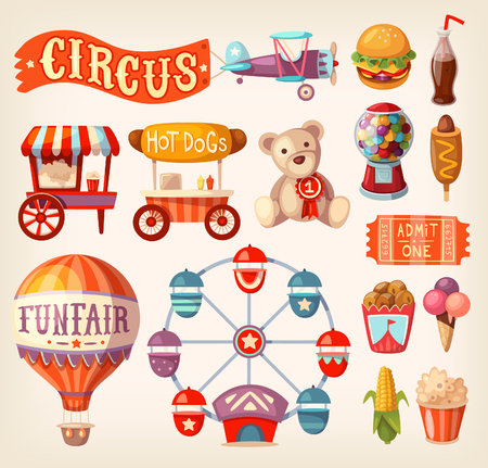 A collection of fun fair and traveling circus icons and elements.