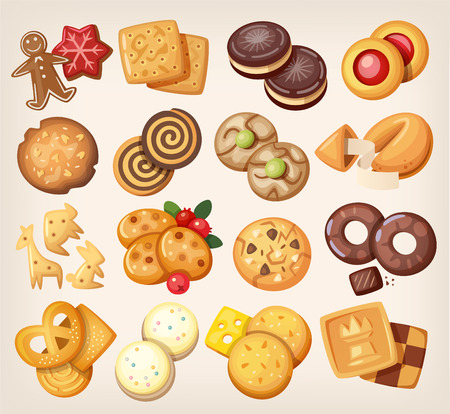 Illustration for Set of all kinds of delicious chocolate and vanilla cookies. - Royalty Free Image