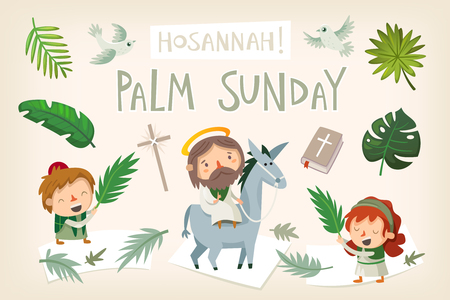 Illustration pour Jesus riding a donkey entering Jerusalem. People greeting him with palm branches and shouting Hosannah. Biblical easter story illustration Vector. - image libre de droit