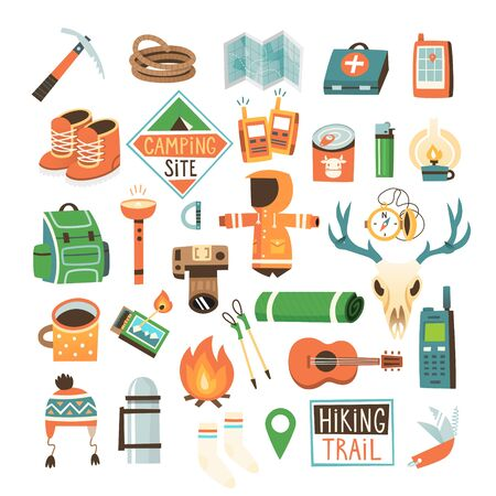 Illustration pour Collection of items for hiking, backpacking and traveling into the wild. - image libre de droit
