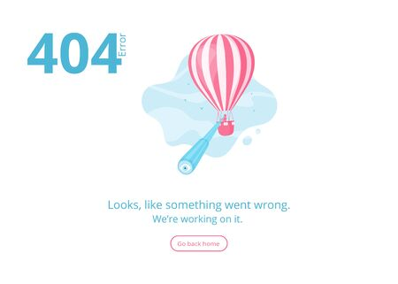 Illustration pour Concept 404 error warning message for website, banner or presentation with man and spyglass looking for missed page on hot air balloon in blue sky. Vector illustration for 404 error mobile app page - image libre de droit