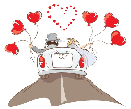 Foto de The bride and groom riding in a car  - Imagen libre de derechos