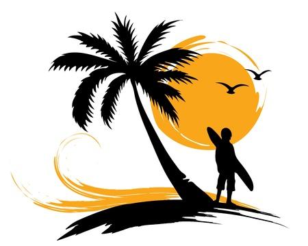 Illustration pour Illustration - palm trees, sun, surf  - image libre de droit