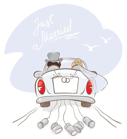Foto de Newlyweds in a car  - Imagen libre de derechos