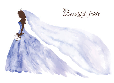 Watercolor vector illustration -- beautiful bride