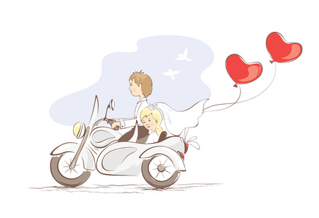 Illustration pour illustration, card -- just married on a motorcycle - image libre de droit