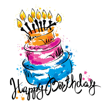 Illustration for Cake ans Happy Birthday / Handwritten vector calligraphy with abstract cake - Royalty Free Image