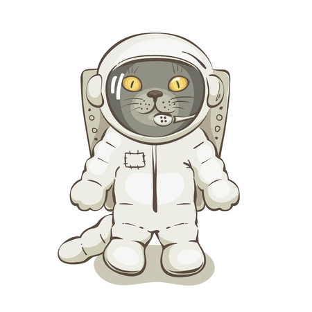 Cat astronaut / Funny vector illustrations with grey cat in