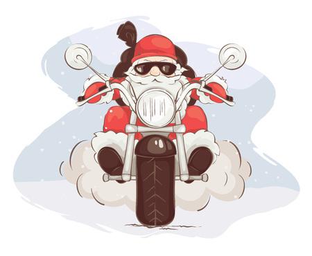 Ilustración de Santa biker / Vector illustration, card - Santa Claus on chopper - Imagen libre de derechos