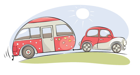 Illustration pour Summer travel in a house on wheels / Funny pink retro car with camping ride on a trip, vector illustration - image libre de droit
